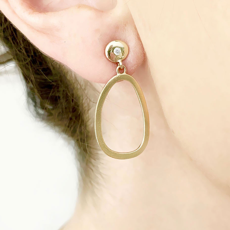 Gold Pebble earrings